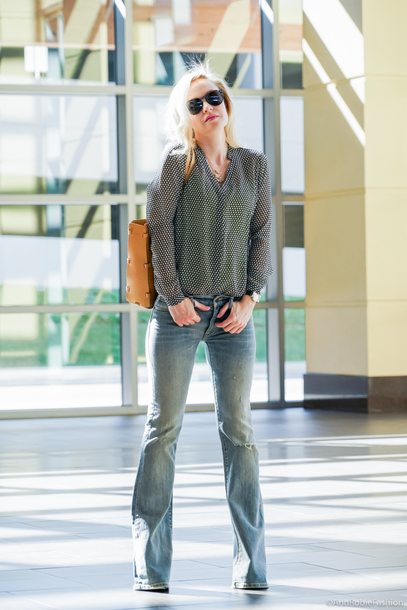 Spring denim: Sheer blouse Ann Taylor, flare jeans Ralph Lauren - casual outfit by petite style blogger AnnRobieFashion