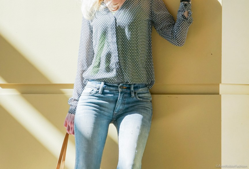 Light blue for spring: Sheer blouse Ann Taylor, flared jeans Ralph Lauren - casual outfit by petite style blogger AnnRobieFashion