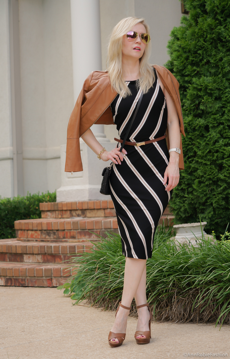 Summer style: Black & brown striped bodycon dress White House Black Market, platform sandals White House Black Market - casual outfit by petite style blogger AnnRobieFashion