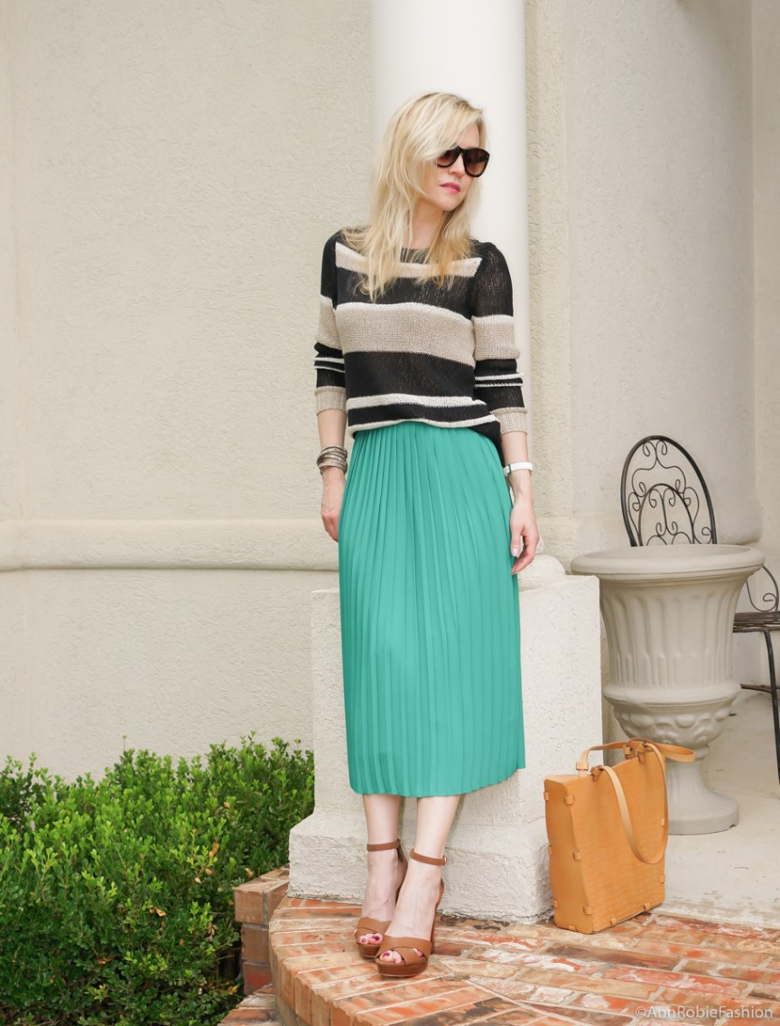 Summer style: Turquoise midi skirt, striped sweater Ann Taylor, platform sandals White House Black Market - casual outfit by petite style blogger AnnRobieFashion