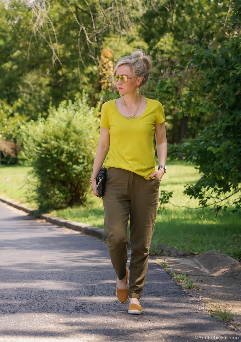 Casual Summer: Avocado green T-shirt Ann Taylor, military green pants Asos, Timberland mustard yellow slip-on sneaker - outfit by petite style blogger AnnRobieFashion