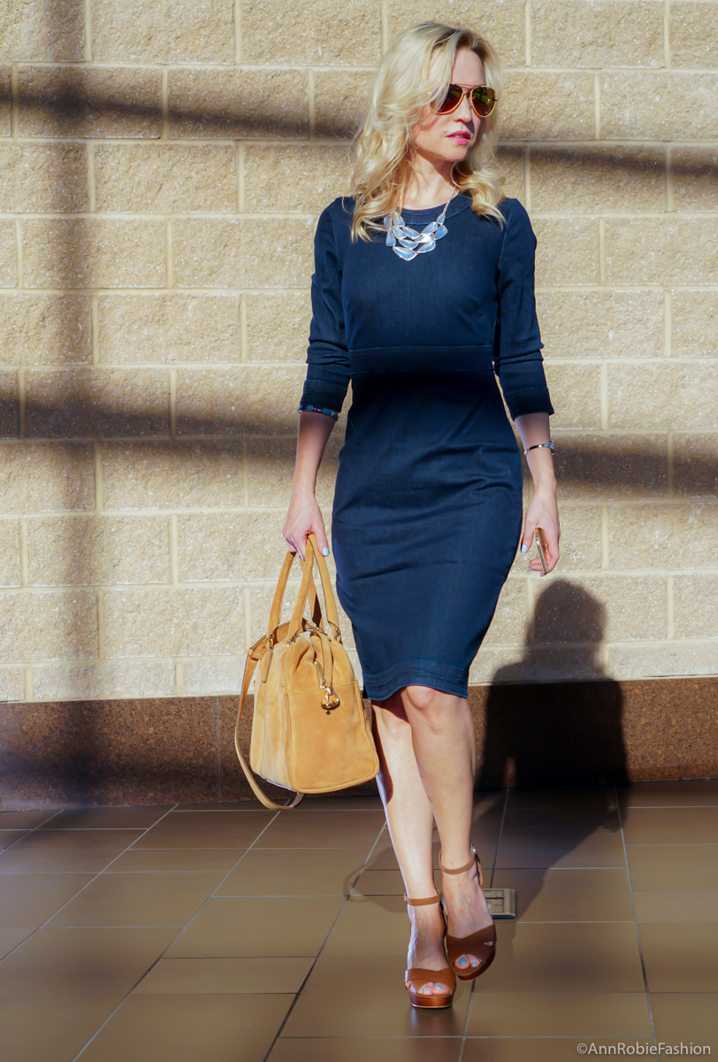 Fall office outfit: Banana Republic Denim Pencil Dress, brown platform sandals White House Black Market, camel suede daffle Banana Republic - outfit by petite style blogger AnnRobieFashion