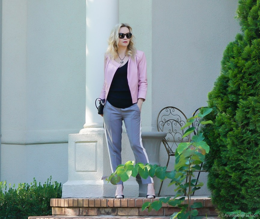 Fall Street Style: Grey striped ankle pants LOFT, black top, lilac leather jacket WhiteHouse Black Market, heels Calvin Klein - outfit by petite style blogger AnnRobieFashion
