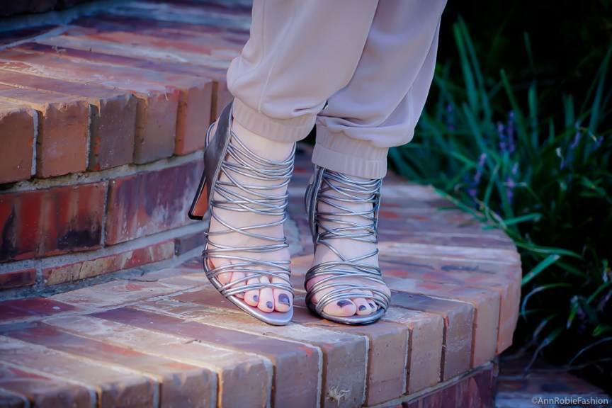 Striped silvered heel sandals BCBGeneration by style blogger AnnRobieFashion