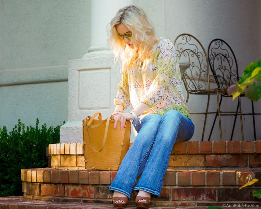Bright color for fall: Miss Me jeans, avocado green blouse Ann Taylor, platform sandals White House Black Market - outfit by petite style blogger AnnRobieFashion
