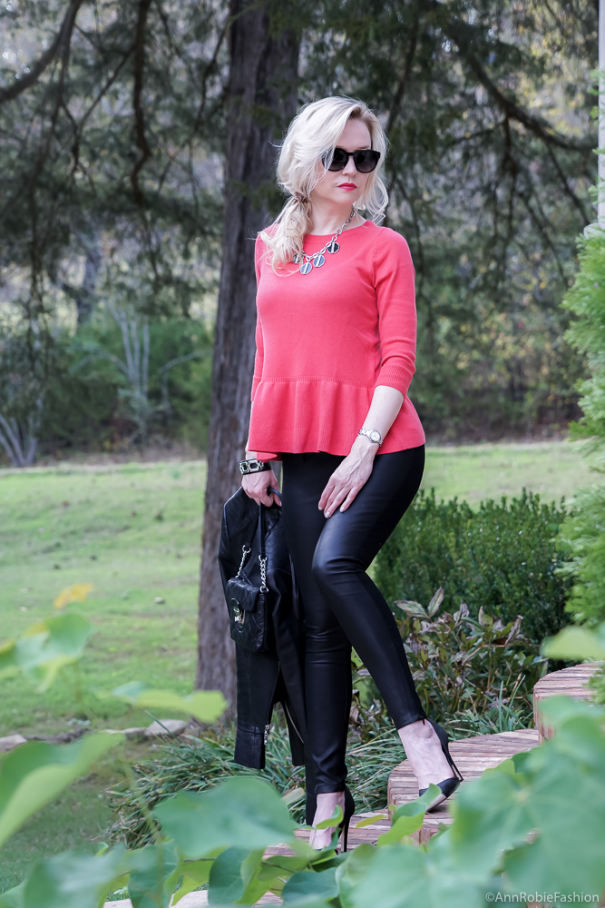 Red peplum sweater Ann Taylor, faux leather skinny pants Banana Republic, black leather jacket WHBM - fall outfit by petite style blogger AnnRobieFashion 13