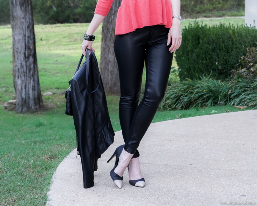 Red peplum sweater Ann Taylor, faux leather skinny pants Banana Republic, black leather jacket WHBM - fall outfit by petite style blogger AnnRobieFashion