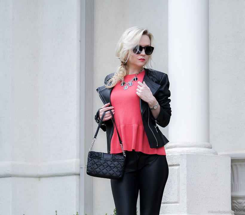 Fall Contrasts: Red peplum sweater Ann Taylor, faux leather skinny pants Banana Republic, black leather jacket WHBM - fall outfit by petite style blogger AnnRobieFashion