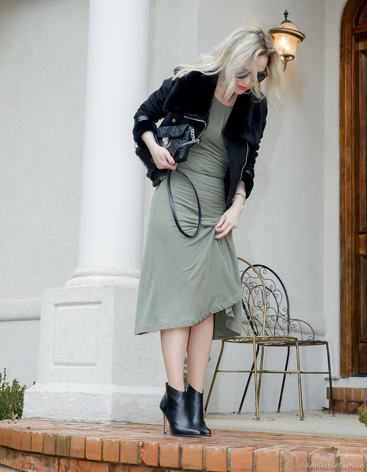 Midi dress in winter: sage green midi dress, black faux fur jacket - winter outfit by petite style blogger AnnRobieFashion
