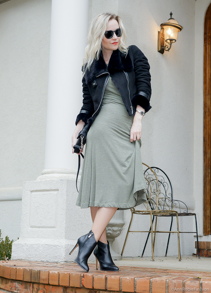 Winter Color Trend: sage green midi dress, black faux fur jacket - winter outfit by petite style blogger AnnRobieFashion