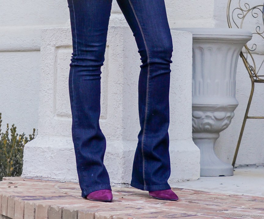 Winter color trend: Marc Fisher suede booties, flared jeans WHBM - winter outfit by petite style blogger AnnRobieFashion