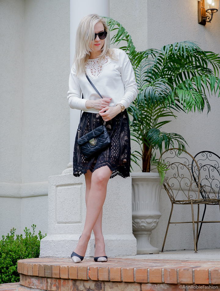 Black & cream lace full skirt Target, lace detail sweatshirt, heels - spring - summer outfit by petite style blogger AnnRobieFashion