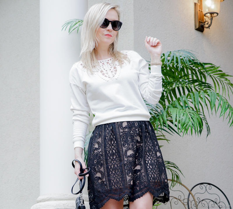 Black & white outfit for spring: Black lace full skirt Target, white lace detail sweatshirt, heels - spring - summer outfit by petite style blogger AnnRobieFashion