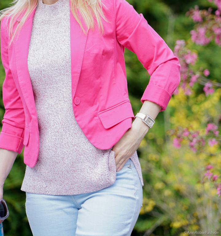 Bright pink color for spring: Bright pink jacket, light blue jeans, purple suede heels