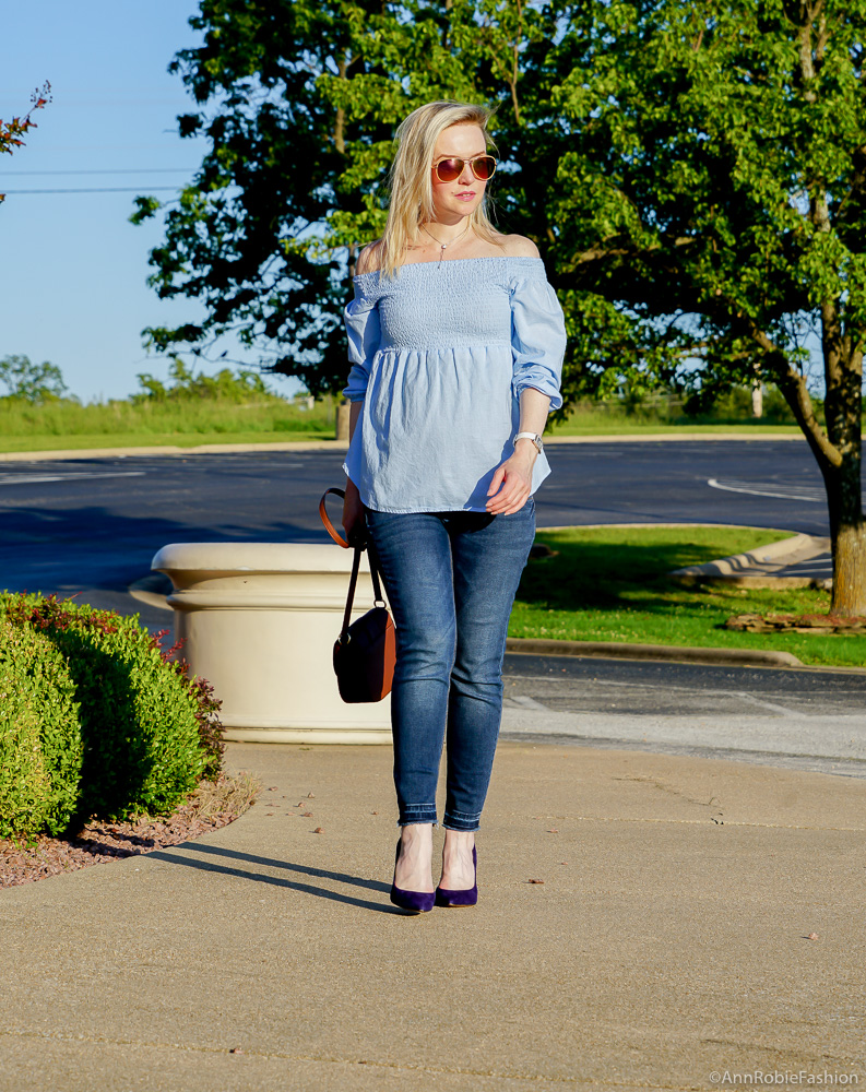 Pregnant & Stylish: Baby blue off-the-shoulder top, skinny maternity jeans Jessica Simpson - outfit by petite style blogger AnnRobieFashion
