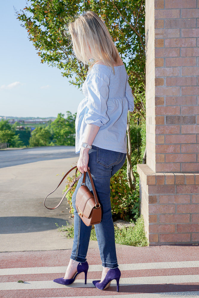 What to look stylish while you are pregnant: Baby blue off-the-shoulder top, skinny maternity jeans Jessica Simpson - outfit by petite style blogger AnnRobieFashion