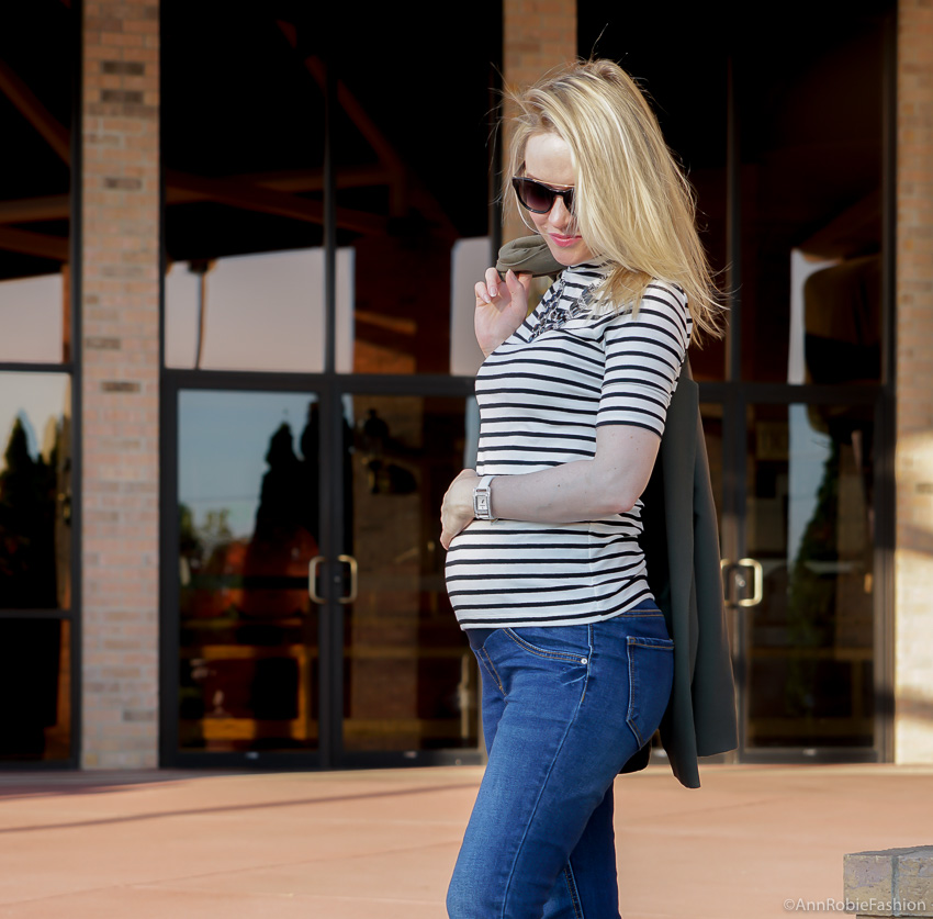 Stylish Pregnancy: Hunter green long jacket Asos, striped mockneck top Ann Taylor, skinny maternity jeans Jessica Simpson - outfit by petite style blogger AnnRobieFashion