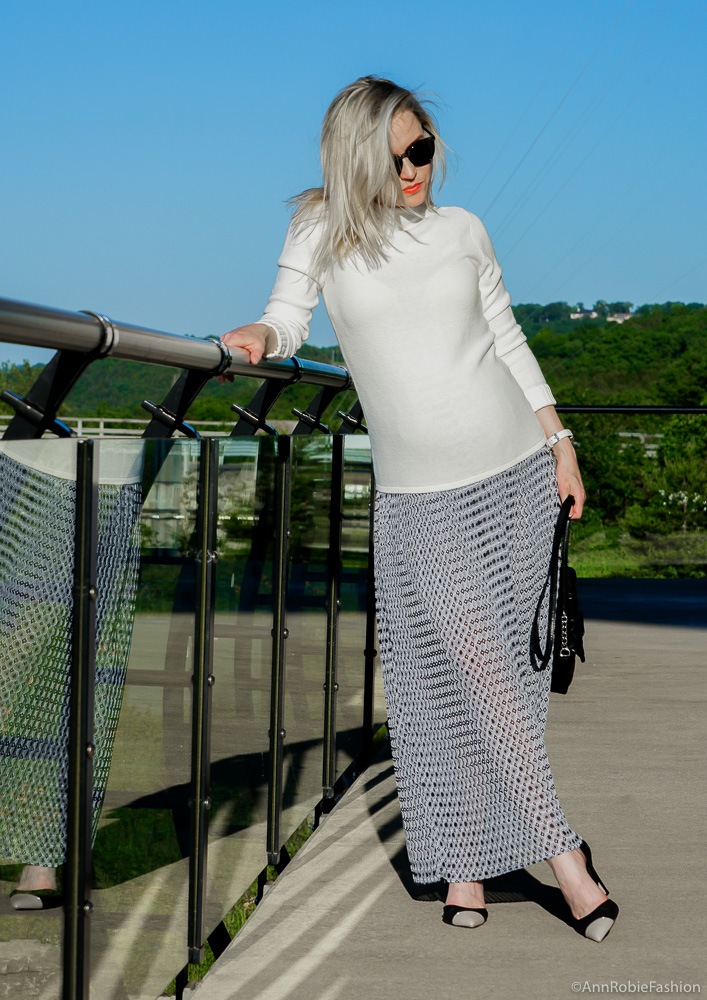 Pregnancy Style: White mock neck sweater, pleated maxi skirt - outfit by petite style blogger AnnRobieFashion