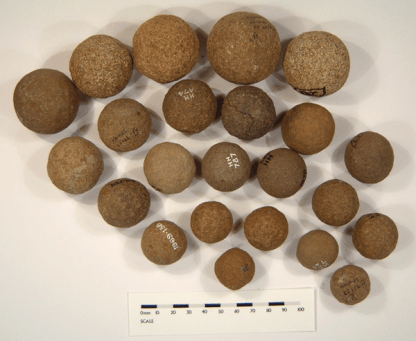 These balls are shaped to almost perfect spheres and may have been used as gaming counters or as some sort of tally system. They are found at hillforts and other Iron Age sites around the SE of Scotland.