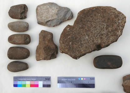 Hammerstones, flaked stone bars and a saddle quern from St Kilda.