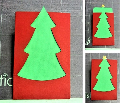 The finished christmas tree gift card envelope.