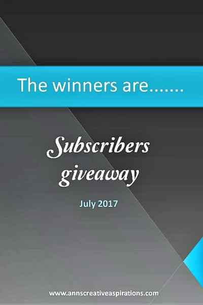 The July Winners are…….