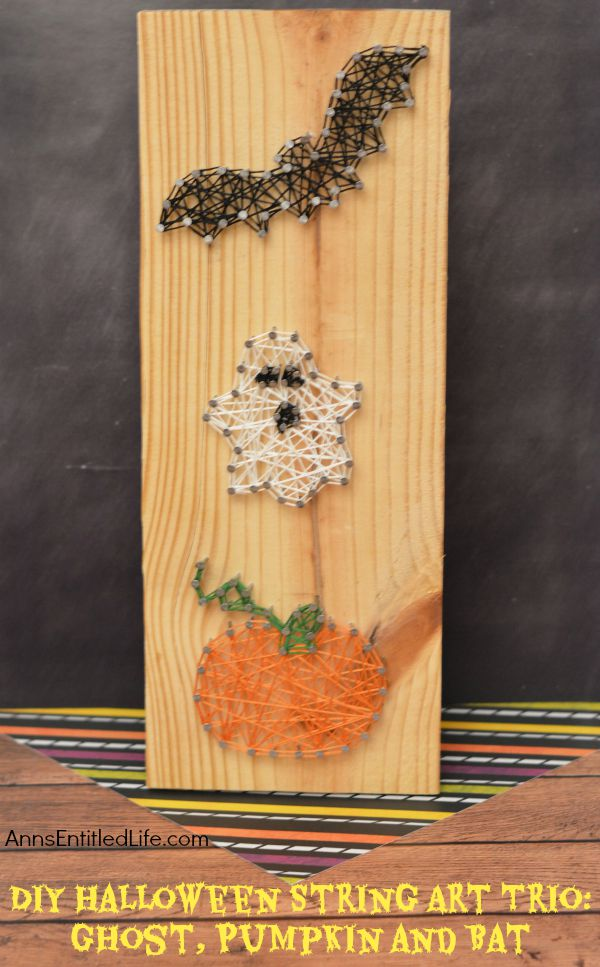 Halloween String Art : halloween, string, Halloween, String, Trio:, Ghost,, Pumpkin