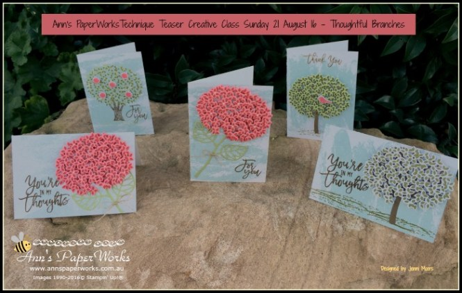 Thoughtful Branches Bundle|Technique Teasers Ann's PaperWorks Ann Lewis Stampin' Up! (Aus)| August card making class