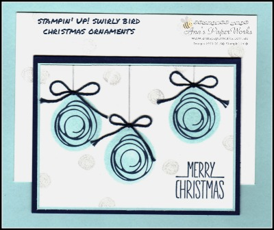 Swirly Bird Christmas handmade card, Christmas in July, Better Together Stamp Set, Technique Teaser Sunday card class 2/16 Christmas in July Creative Class Stampin' Up! Ann's PaperWorks Ann Lewis Stampin' Up! (Aus)|card class