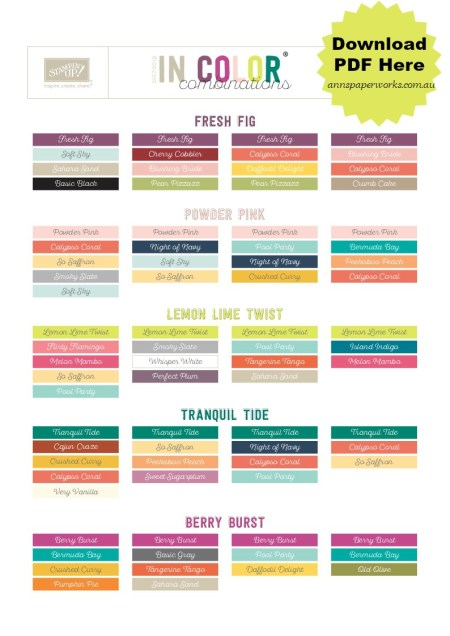 In-Color Co-ordinating Chart, Stampin' Up! colour combinations, Stampin' Up! 2017-18 Catalogue|Ann's PaperWorks| Ann Lewis| Stampin' Up! (Aus) online store 24/7