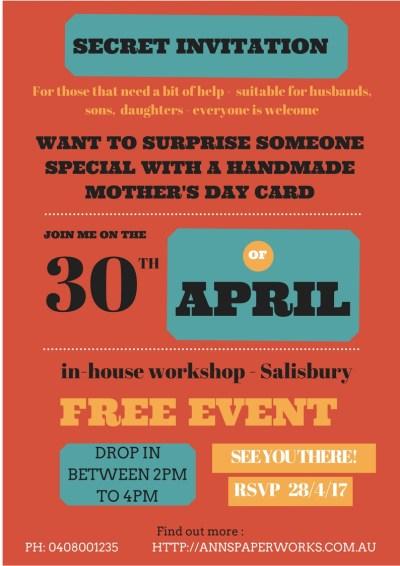 Mother's Day Card Free Event, Ann's PaperWorks, Ann Lewis, Salisbury Brisbane