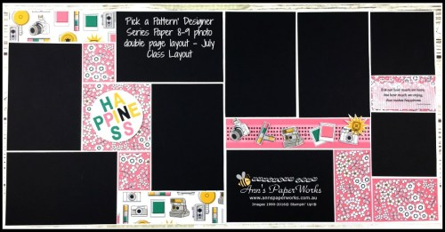 Double Page Scrapbook Layout, Pick a Pattern DSP, July Creative Class, 8-9 photo layout, Stampin' Up! Ann's PaperWorks Ann Lewis Stampin' Up! (Aus)|Scrapbooking/Project Life class