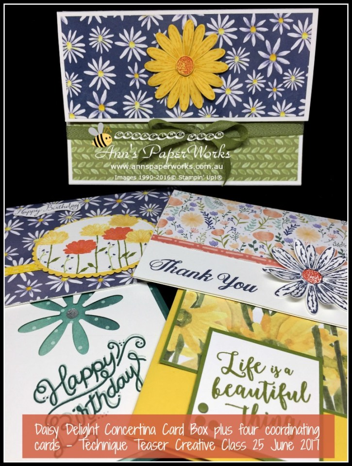 June Technique Teaser - Daisy Delight Concertina Card Box, Stampin' Up! 2017-18 Catalogue Ann's PaperWorks| Ann Lewis| Stampin' Up! (Aus) online store 24/7