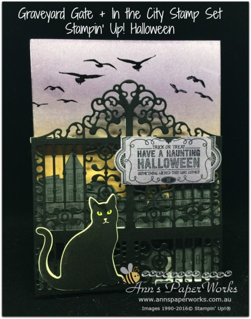 Halloween Graveyard Gate, cat punch, Stampin' Up! 2017 Christmas Holiday Catalogue Ann's PaperWorks| Ann Lewis| Stampin' Up! (Aus) online store 24/7