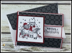 Mistletoe Friends Stamp Set, Be Merry Designer Series Paper, Merry Music Specialty Designer Series Paper, Fancy Fold card, Stampin' Up! 2017 Christmas Holiday Catalogue Ann's PaperWorks| Ann Lewis| Stampin' Up! (Aus) online store 24/7