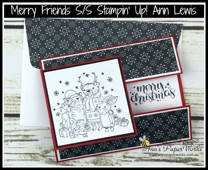 Mistletoe Friends Stamp Set, Be Merry Designer Series Paper, Merry Music Specialty Designer Series Paper, Christmas Card, Fancy Fold card, Stampin' Up! 2017 Christmas Holiday Catalogue Ann's PaperWorks  Ann Lewis  Stampin' Up! (Aus) online store 24/7