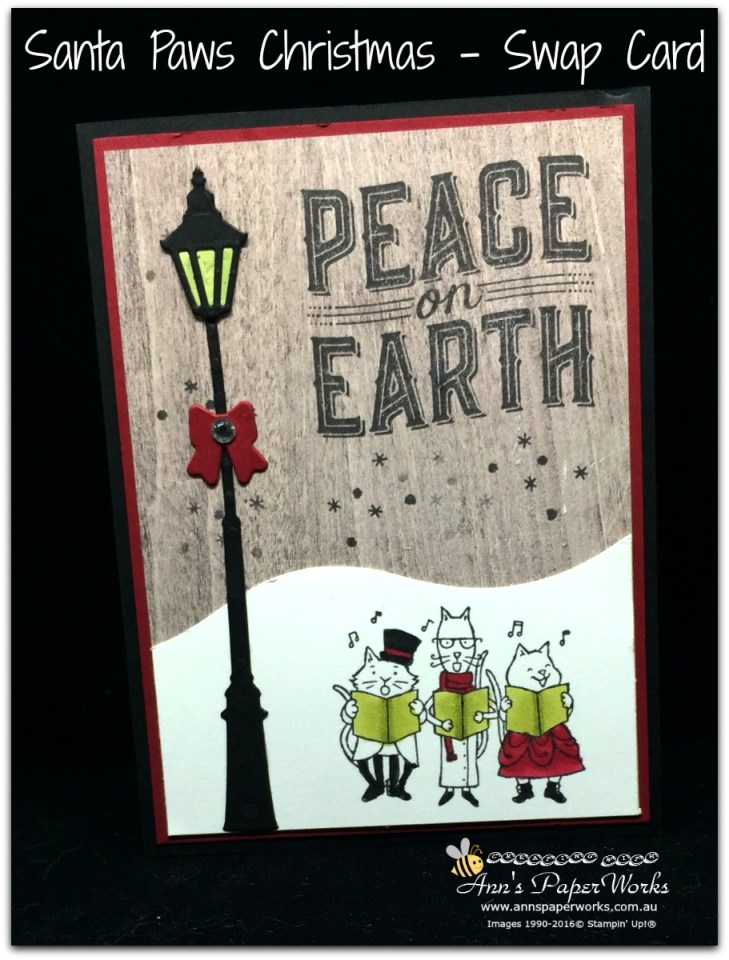 Santa Paws Stamp Set, Brightly Lit Christmas Stamp Set, 2017 OnStage Live swap card, Stampin' Up! 2017 Christmas Holiday Catalogue Ann's PaperWorks  Ann Lewis  Stampin' Up! (Aus) online store 24/7