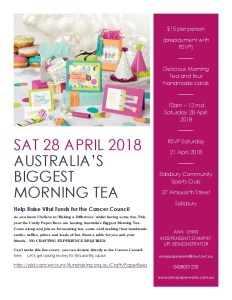 Australia's Biggest Morning Tea, Stampin' Up! Ann's PaperWorks, Ann Lewis, Stampin' Up! (Aus)|Stampin' Up! 2018 Occasions Catalogue| online store 24/7; Cancer Coundil
