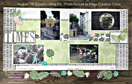 double page scrapbooking layout, amazing times, Tropical Chic Stamp Set, Tropical Escape Designer Series Paper, Stamparatus, Springtime Impressions Framelits, Tropical Thinlit Dies, Stampin' Up! 2018-19 Catalogue Ann's PaperWorks  Ann Lewis  Stampin' Up! (Aus) online store 24/7
