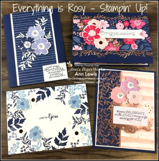 Everything is Rosy Product Medley, Shimmer Paint, classes, cardmaking, handmade cards, Stampin' Up! 2018-19 Catalogue Ann's PaperWorks  Ann Lewis  Stampin' Up! (Aus) online store 24/7, Ann Lewis, Ann's PaperWorks