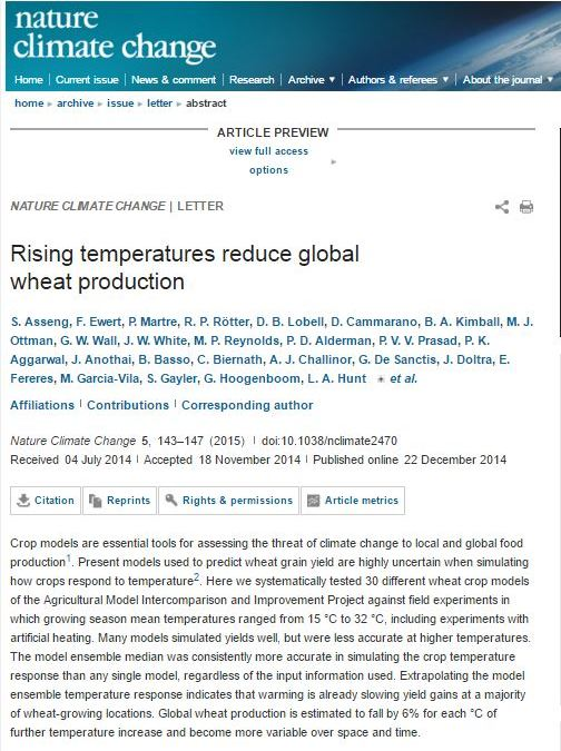 Rising temperatures reduce global wheat production