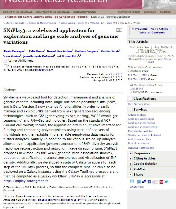 SNiPlay3: a web-based application for exploration and large scale analyses of genomic variations