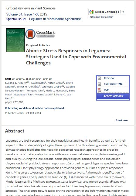 Abiotic stress responses in legumes: strategies used to cope with environmental challenges