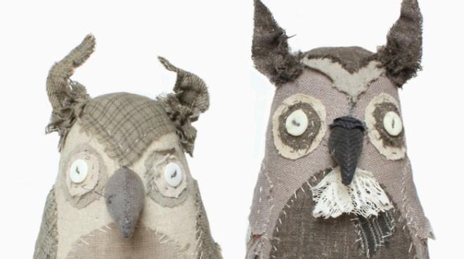 textile art owls