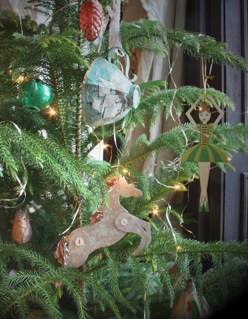 handmade cardboard horse holiday ornament