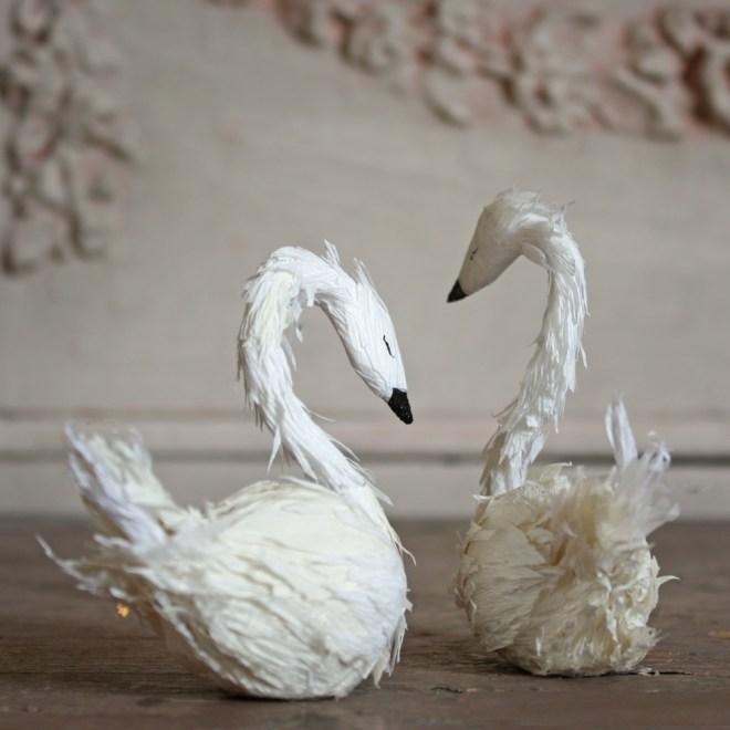 paper swan pair cake topper