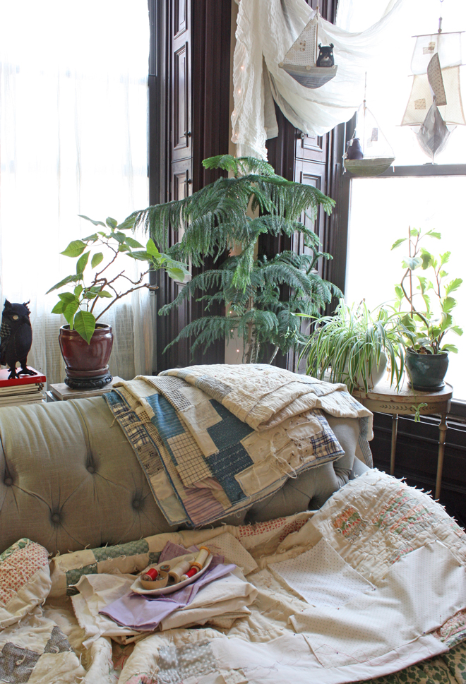 quilts, plants and twinkle lights