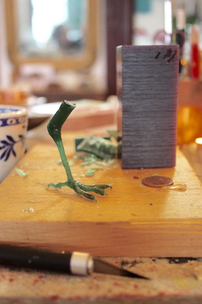 bird foot carved form a wax block