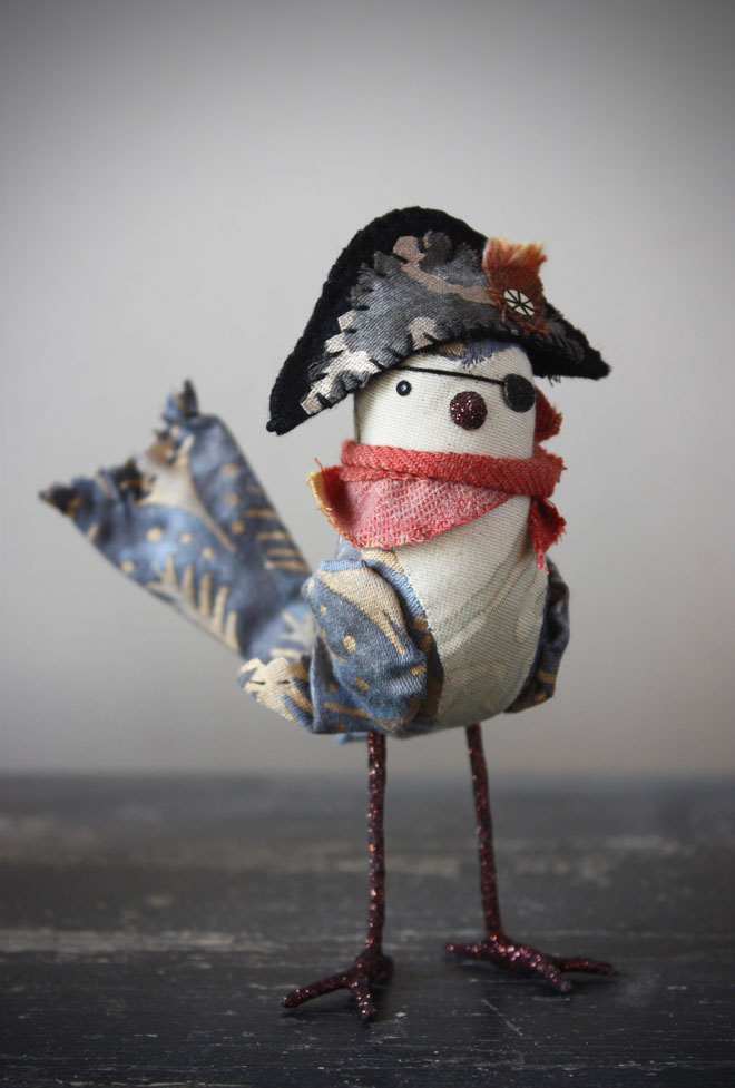 handmad pirate bird with a fancy bicorne hat