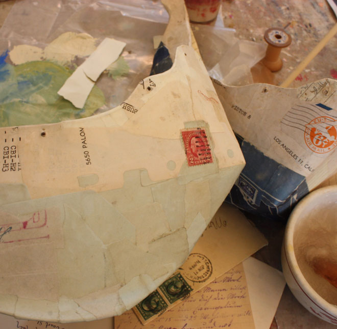 paper mache with antique paper